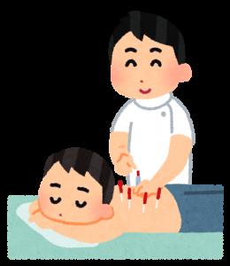 鍼灸を受ける男性